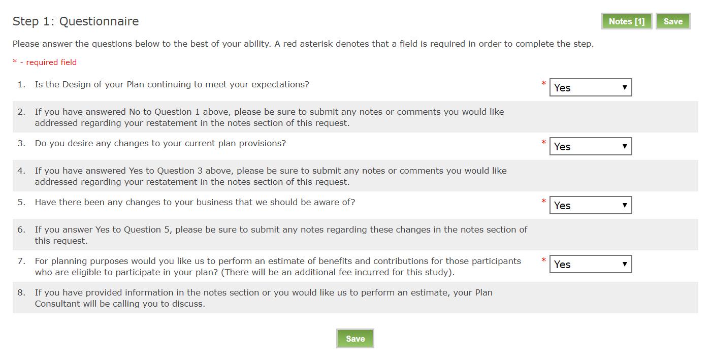 Screenshot of Questionnaire